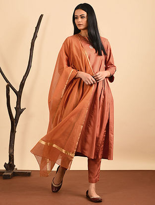 Orange Silk Cotton Dupatta with Zari