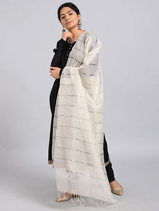 Ivory Silk-Cotton Dupatta with Zari