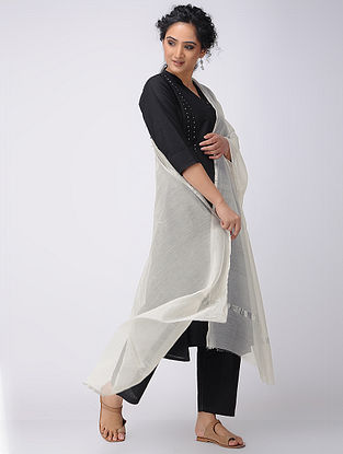 Ivory Silk Cotton Dupatta with Zari Border
