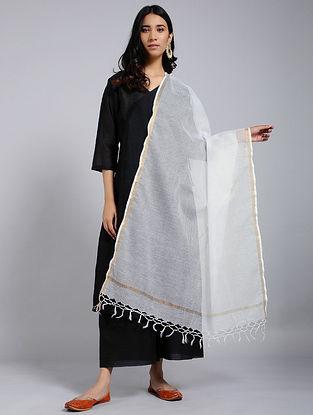 Ivory Silk Cotton Kota Dupatta with Zari