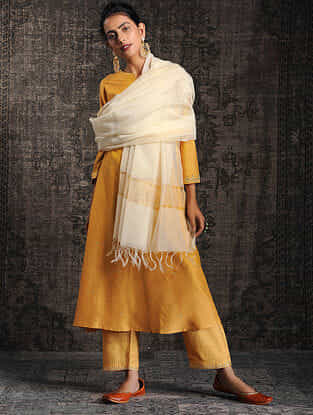 Ivory Silk Cotton Dupatta with Zari