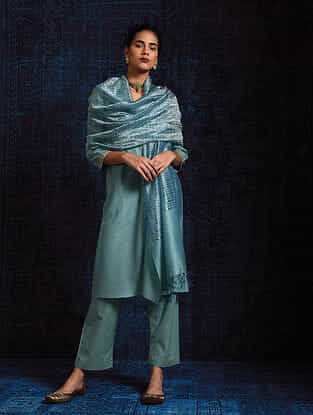 Blue Silk Cotton Dupatta with Zari