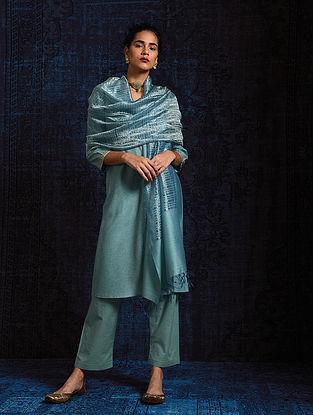 Blue Silk Cotton Dupatta with Zari