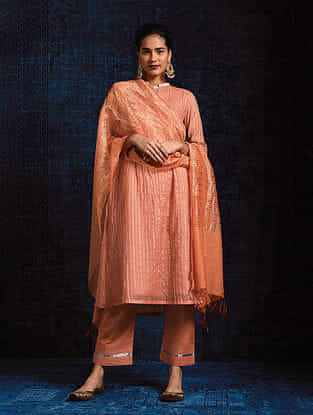 Peach Silk Cotton Dupatta with Zari