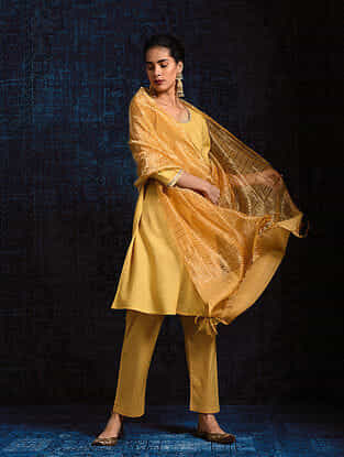 Yellow Silk Cotton Dupatta with Zari