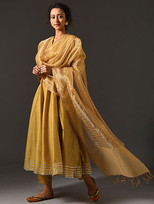 Yellow Silk Cotton Dupatta with Zari