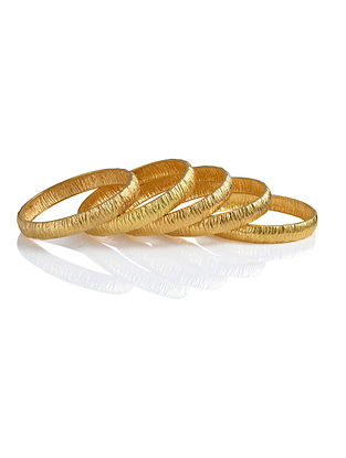 Gold Plated Handcrafted Bangles (Bangle Size: 2/6) (Set of 2)