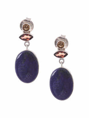 Garnet and Lapis Lazuli Silver Earrings