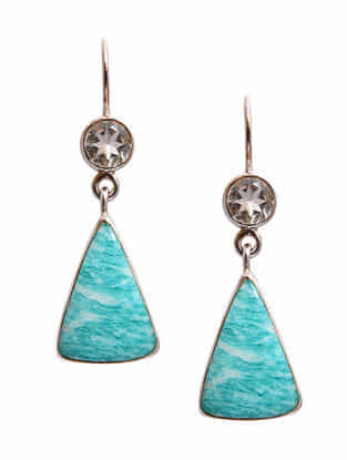 Green Amethyst and Amazonite Silver Earrings