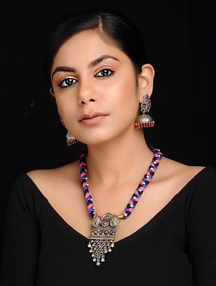 Multicolored Dual Tone Brass and Thread Necklace with Earrings (Set of 2)
