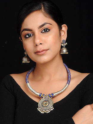 Blue-Silver Dual Tone Brass and Thread Necklace with Earrings (Set of 2)