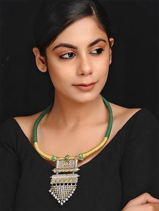 Green-Gold Dual Tone Brass and Thread Necklace