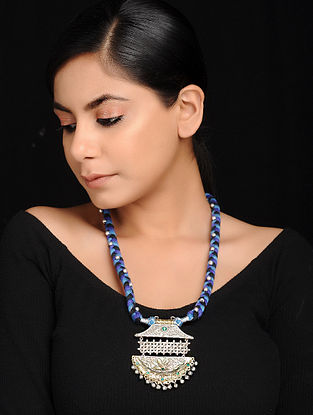 Blue-Black Dual Tone Brass and Thread Necklace