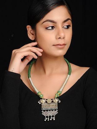 Green Dual Tone Brass and Thread Necklace