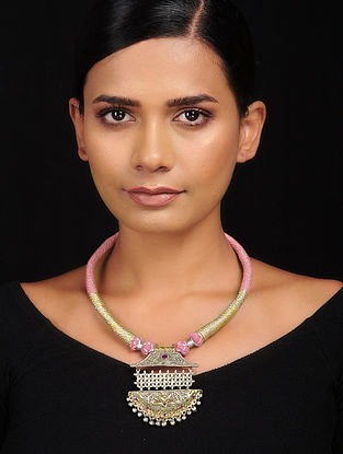 Pink Dual Tone Brass and Thread Necklace