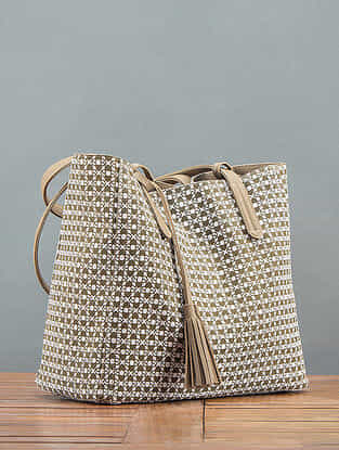 Khaki Printed Reversible Tote Bag