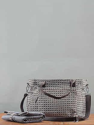 Charcoal Printed Handbag