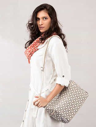 Beige Printed Sling Bag