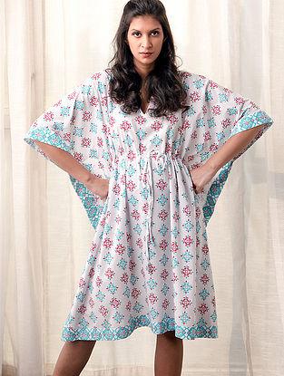 White-Blue Printed Cotton Kaftan