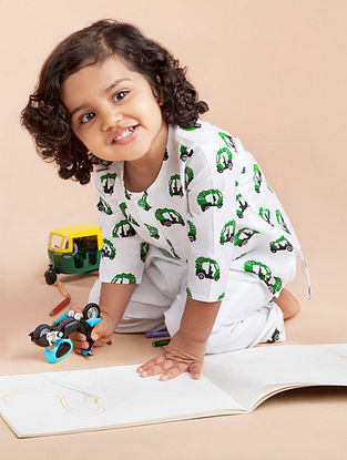 White Rickshaw Printed Cotton Kurta Pyjama Set for Kids