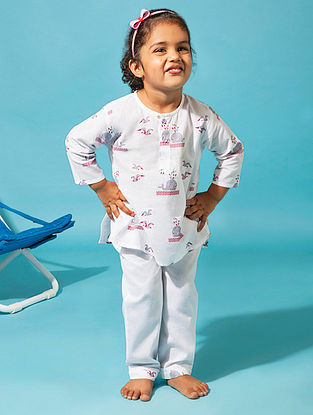 White Whale Bird Printed Cotton Kurta Pyjama Set for Kids