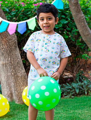 White Circus Clown Printed Cotton Top with Bottom for Kids