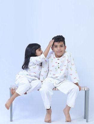 White Cotton Kids Kurta Pyjama Set with Fruit Print