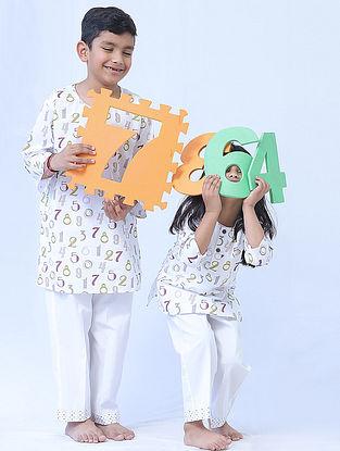 White Cotton Kids Kurta Pyjama Set with Number Print