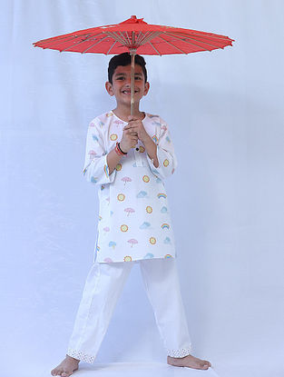 White Cotton Kids Kurta Pyjama Set with Weather Print