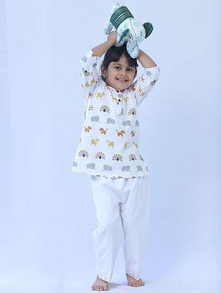 White Cotton Kids Kurta Pyjama Set with Animal Print