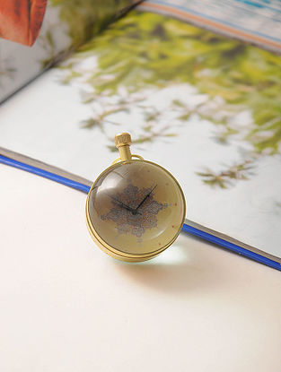Queen Quarter Brass and Glass Paperweight Watch (3in x 2.2in)