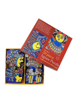 Multicolored Jigsaw Puzzle with Madhubani Artwork - Set of 2