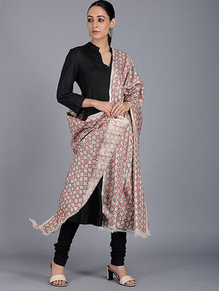 Ivory-Red Kantha-embroidered Tussar Silk Dupatta