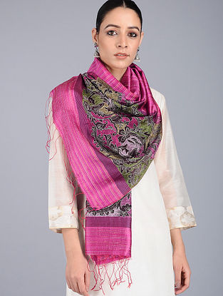 Pink-Green Kantha-embroidered Silk Stole