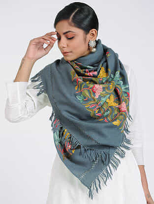 Grey-Pink Aari-embroidered Merino Wool Stole