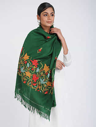 Green-Red Aari-embroidered Merino Wool Stole