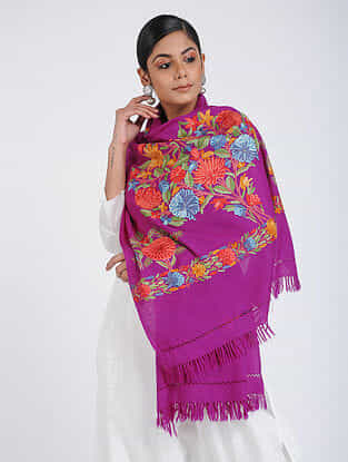 Purple-Red Aari-embroidered Merino Wool Stole