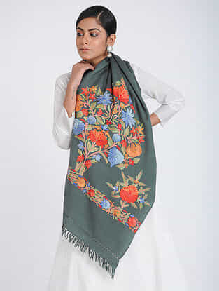 Grey-Red Aari-embroidered Merino Wool Stole