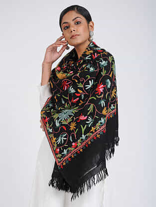 Black-Green Aari-embroidered Merino Wool Stole