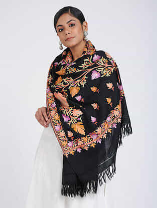 Black-Purple Aari-embroidered Merino Wool Stole