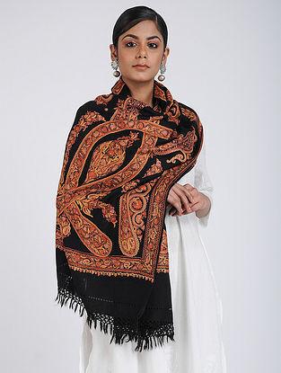 Black-Red Aari-embroidered Merino Wool Stole