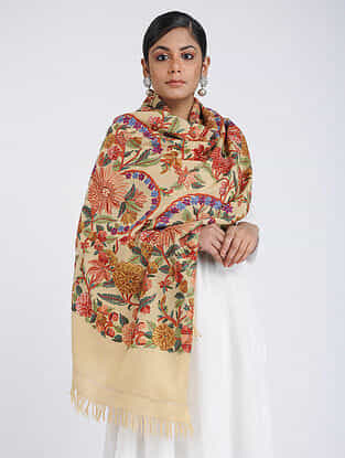 Beige-Red Aari-embroidered Merino Wool Stole