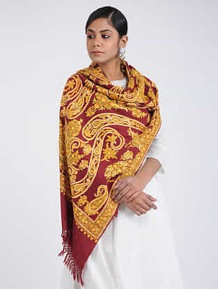 Red-Yellow Aari-embroidered Merino Wool Stole