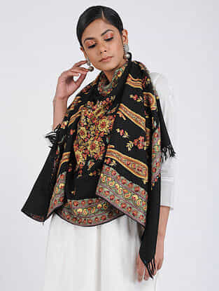 Black-Yellow Aari-embroidered Merino Wool Stole