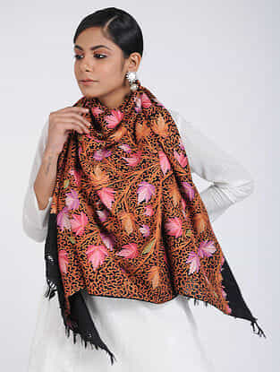 Black-Pink Aari-embroidered Merino Wool Stole