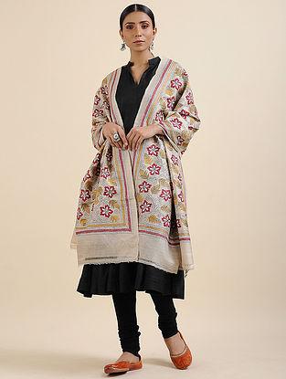 Ivory-Pink Kantha Embroidered Tussar Silk Dupatta