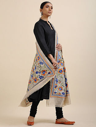 Ivory-Blue Kantha Embroidered Tussar Silk Dupatta
