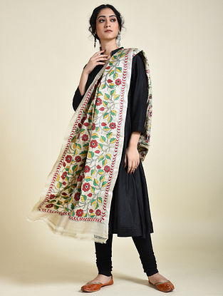 Ivory-Green Kantha Embroidered Tussar Silk Dupatta