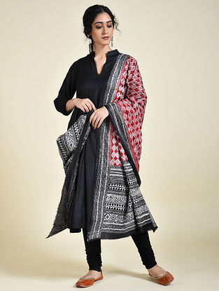 Red-Black Kantha Embroidered Tussar Silk Dupatta