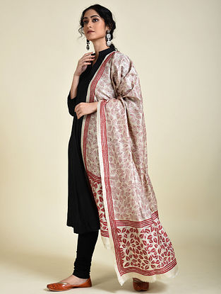 Ivory-Red Kantha Embroidered Tussar Silk Dupatta